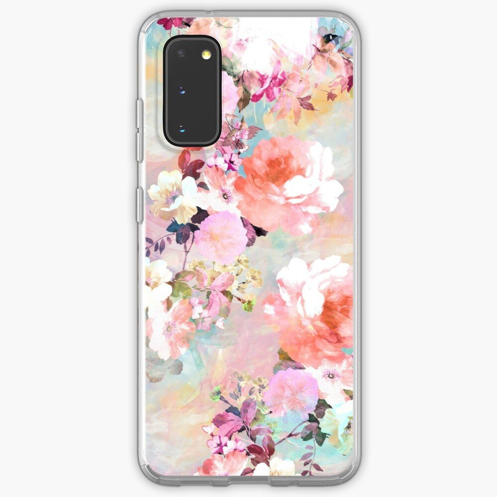 Romantic Pink Teal Watercolor Chic Floral Pattern Case & Skin for Samsung Galaxy