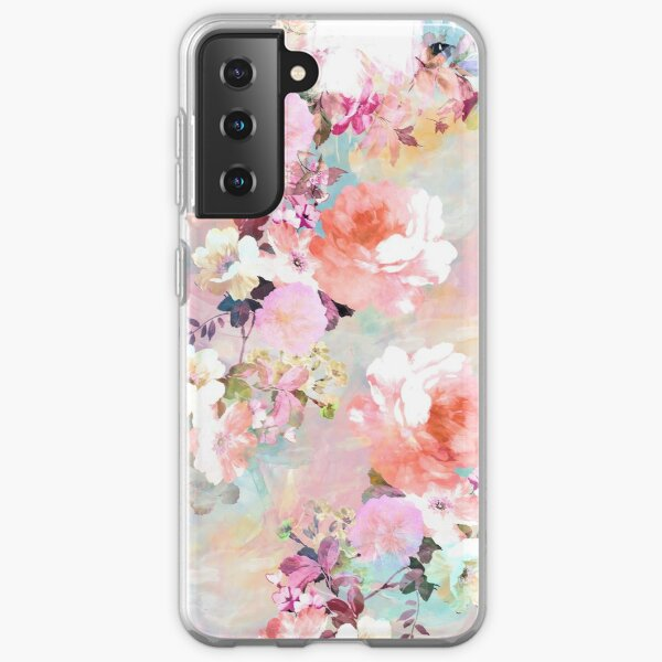 Romantic Pink Teal Watercolor Chic Floral Pattern Samsung Galaxy Soft Case
