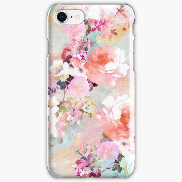 Romantic Pink Teal Watercolor Chic Floral Pattern iPhone Snap Case