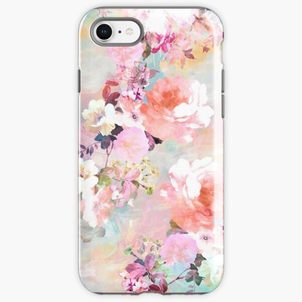 Romantic Pink Teal Watercolor Chic Floral Pattern iPhone Tough Case