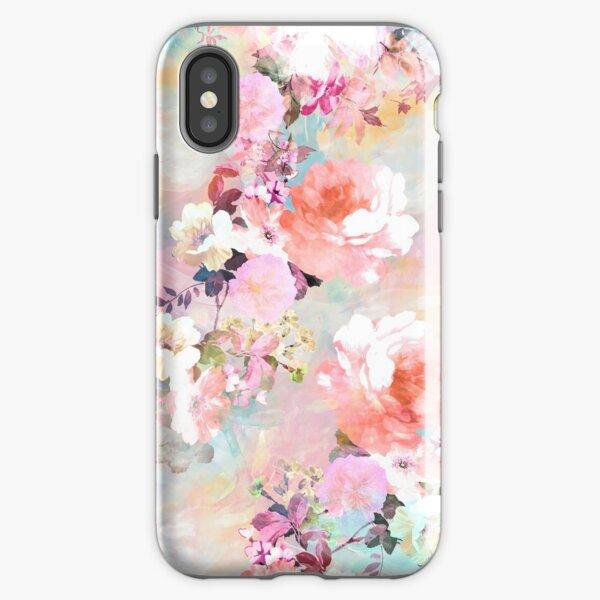 elegantes und schickes Blumenmuster mit schönen und adretten viktorianischen Vintage-Rosen und Pfingstrosen in Hellrosa und Orchideenpurpur auf einem modernen und abstrakten Pastell-Aquarell-Strichmuster in Rosa und Blaugrün. perfektes weibliches Geschen iPhone Robuste Hülle