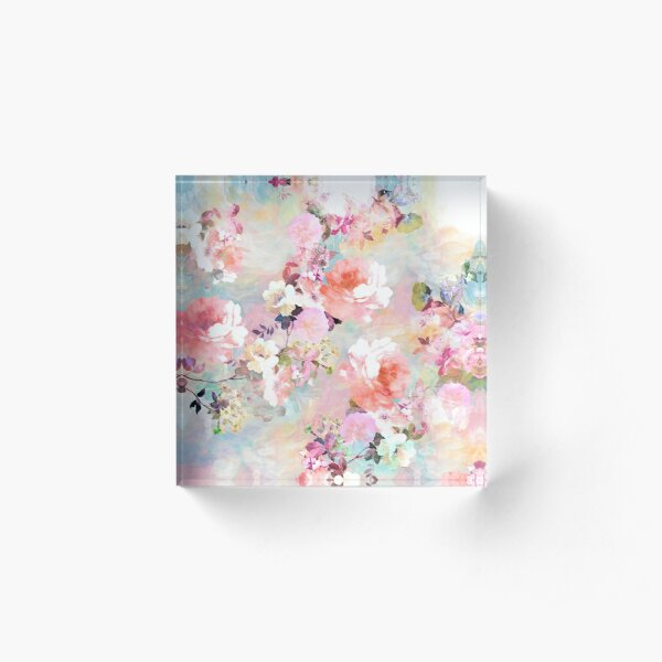 Romantic Pink Teal Watercolor Chic Floral Pattern Acrylic Block