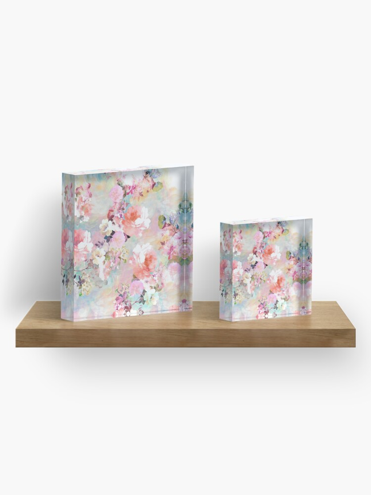 Alternate view of Romantic Pink Teal Watercolor Chic Floral Pattern Acrylic Block