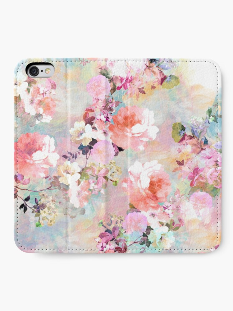 Alternate view of Romantic Pink Teal Watercolor Chic Floral Pattern iPhone Wallet