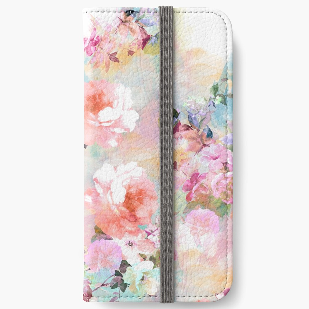 Romantic Pink Teal Watercolor Chic Floral Pattern iPhone Wallet