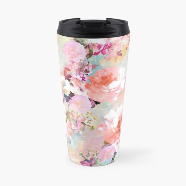 Romantic Pink Teal Watercolor Chic Floral Pattern Travel Mug