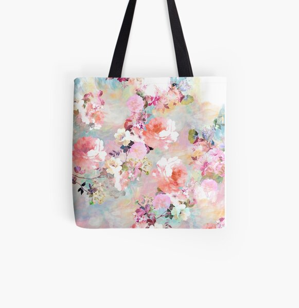 Romantic Pink Teal Watercolor Chic Floral Pattern All Over Print Tote Bag