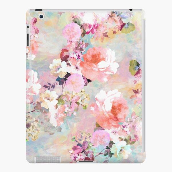 elegantes und schickes Blumenmuster mit schönen und adretten viktorianischen Vintage-Rosen und Pfingstrosen in Hellrosa und Orchideenpurpur auf einem modernen und abstrakten Pastell-Aquarell-Strichmuster in Rosa und Blaugrün. perfektes weibliches Geschen iPad – Leichte Hülle
