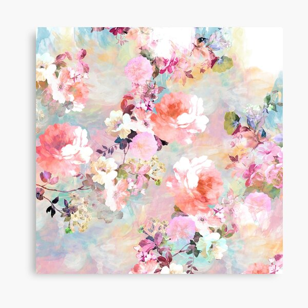 Romantic Pink Teal Watercolor Chic Floral Pattern Canvas Print