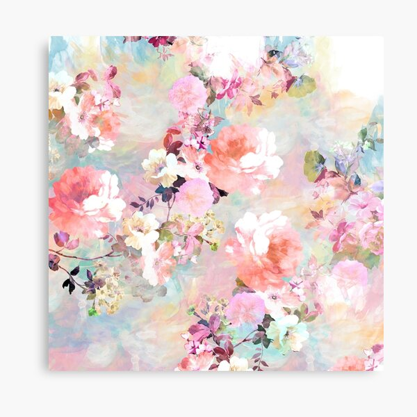 Romantic Pink Teal Watercolor Chic Floral Pattern Metal Print