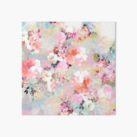 Romantic Pink Teal Watercolor Chic Floral Pattern Art Board Print