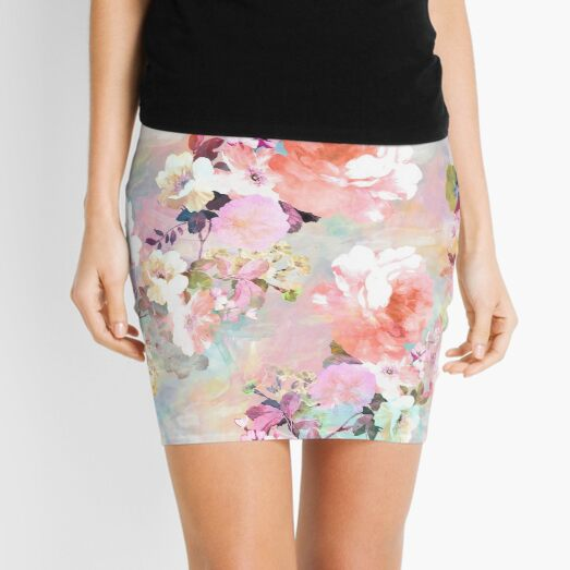 Romantic Pink Teal Watercolor Chic Floral Pattern Mini Skirt