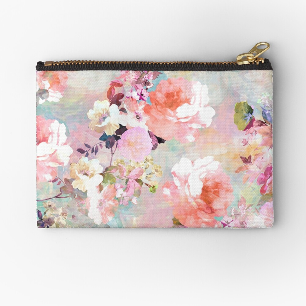 Romantic Pink Teal Watercolor Chic Floral Pattern Zipper Pouch