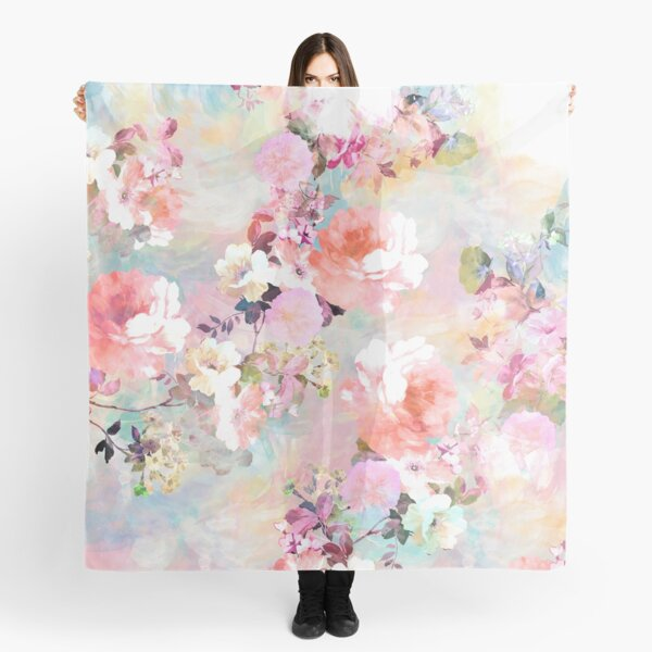 Romantic Pink Teal Watercolor Chic Floral Pattern Scarf