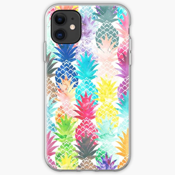 Hawaiian Pineapple Pattern Tropical Watercolor iPhone Soft Case