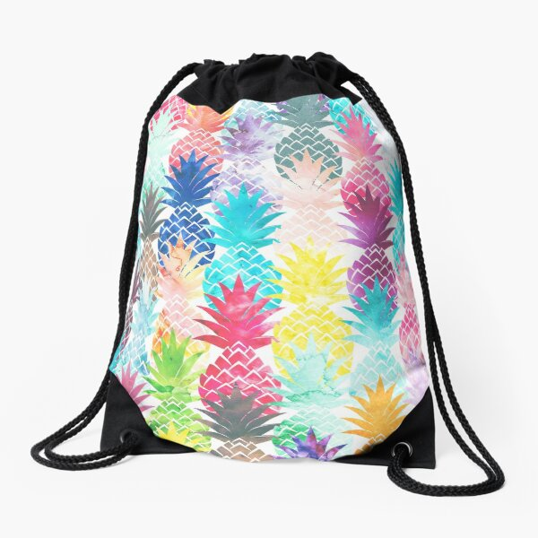Hawaiian Pineapple Pattern Tropical Watercolor Drawstring Bag