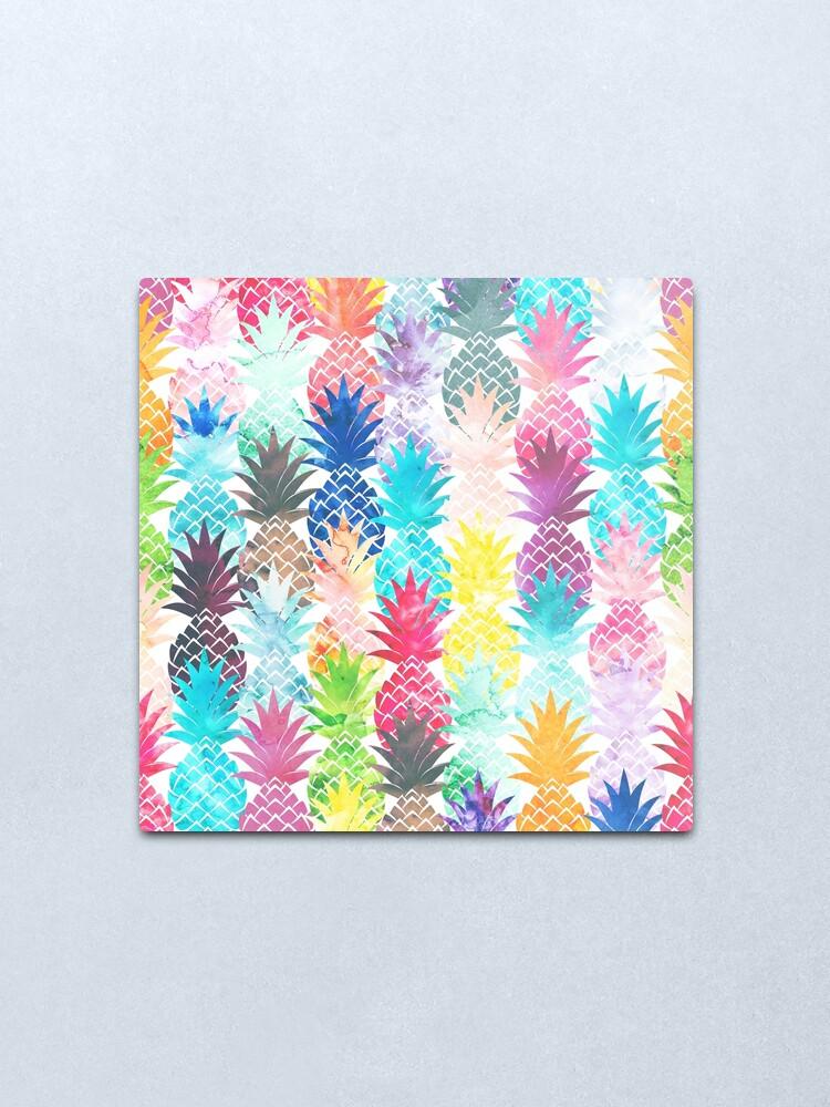 Alternate view of Hawaiian Pineapple Pattern Tropical Watercolor Metal Print