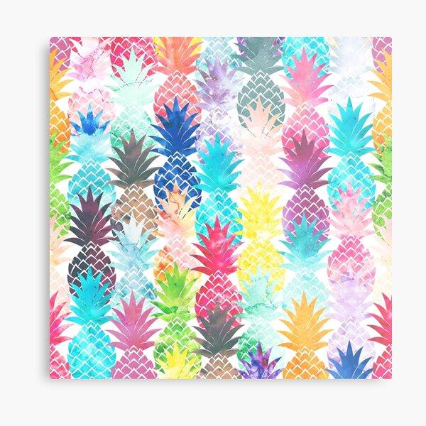 Hawaiian Pineapple Pattern Tropical Watercolor Metal Print