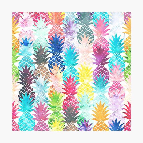 Hawaiian Pineapple Pattern Tropical Watercolor Photographic Print