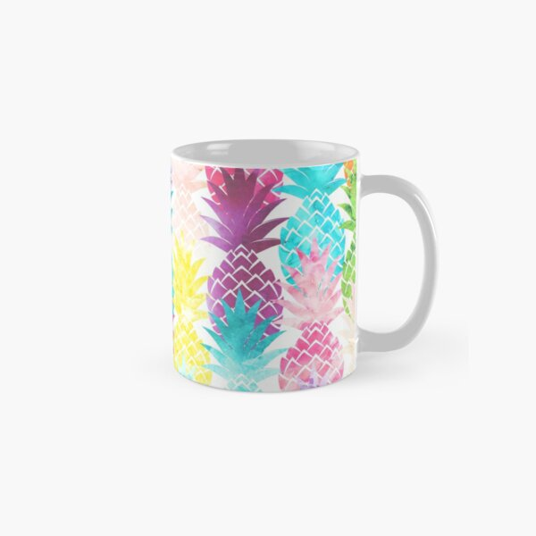 Hawaiian Pineapple Pattern Tropical Watercolor Classic Mug