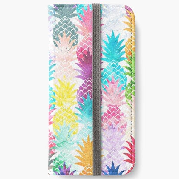 Hawaiian Pineapple Pattern Tropical Watercolor iPhone Wallet