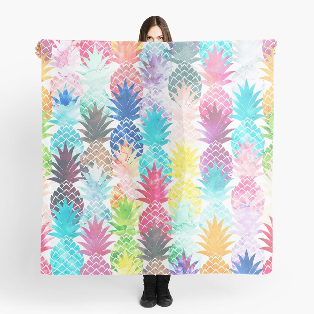 Hawaiian Pineapple Pattern Tropical Watercolor Scarf
