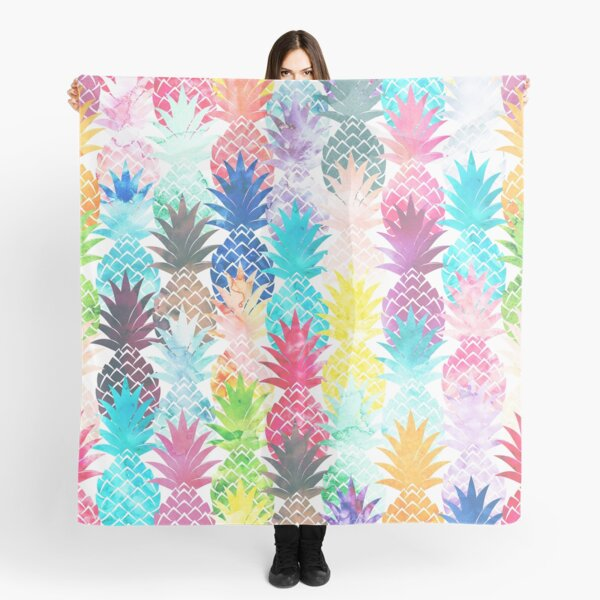 Hawaiian Pineapple Pattern Tropical Watercolor Scarf