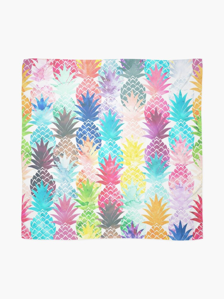 Alternate view of Hawaiian Pineapple Pattern Tropical Watercolor Scarf