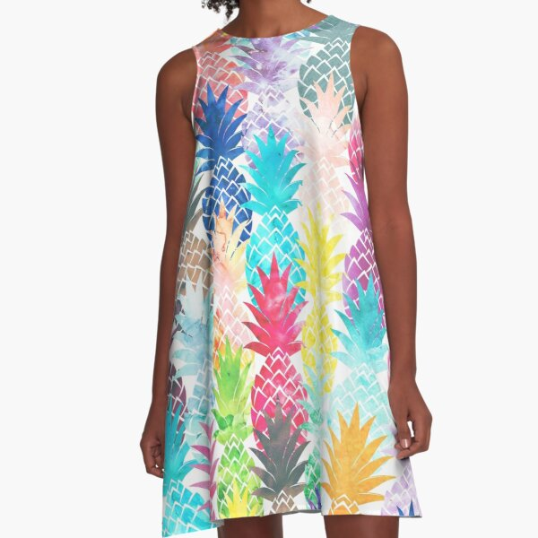 Hawaiian Pineapple Pattern Tropical Watercolor A-Line Dress