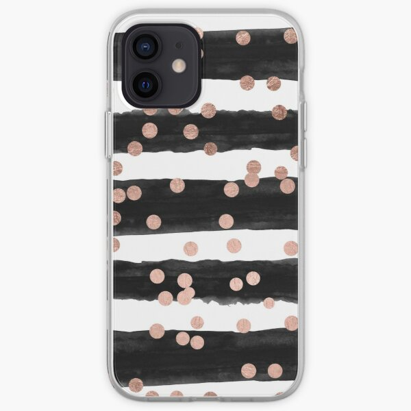 Girly rose gold confetti black watercolor stripes iPhone Soft Case
