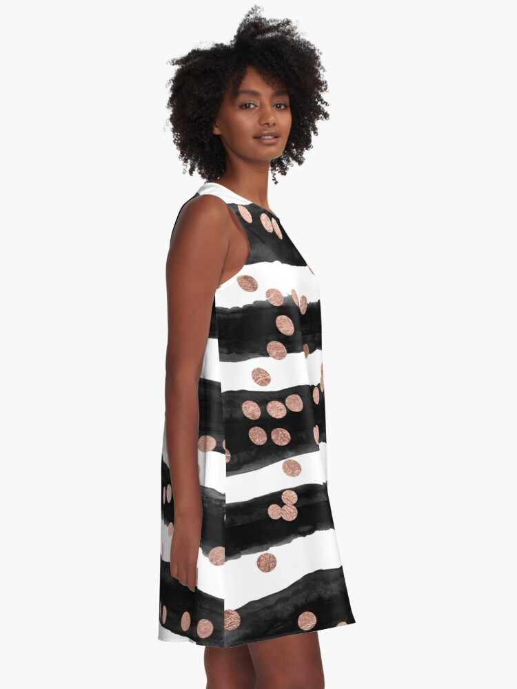 Alternate view of Girly rose gold confetti black watercolor stripes A-Line Dress