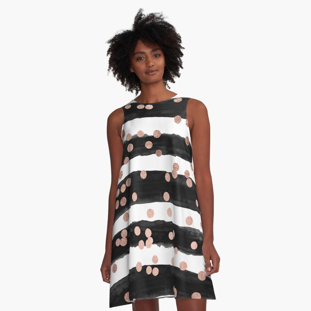 Girly rose gold confetti black watercolor stripes A-Line Dress
