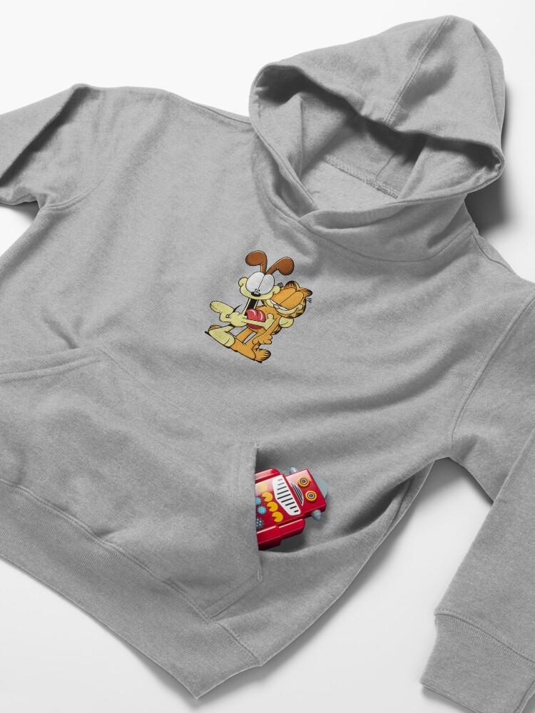 Alternate view of Odie hugs Garfield Kids Pullover Hoodie