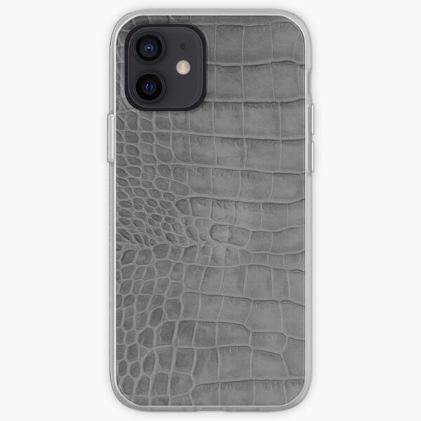 Croco leather effect (grey) iPhone Soft Case