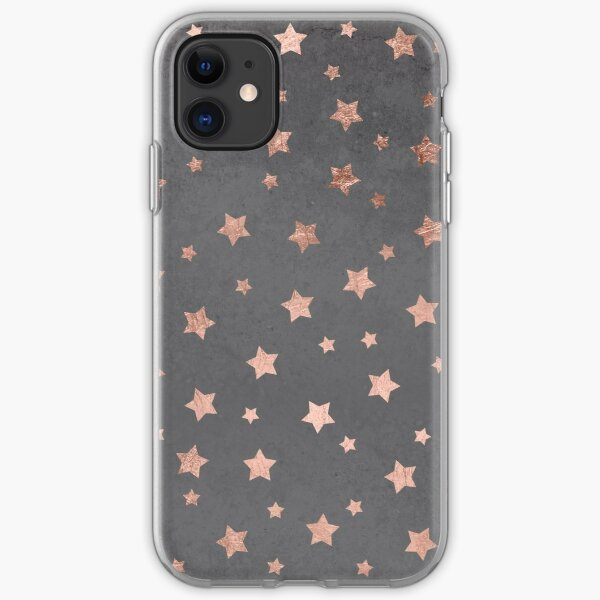 rose gold Christmas stars geometric pattern cement iPhone Soft Case