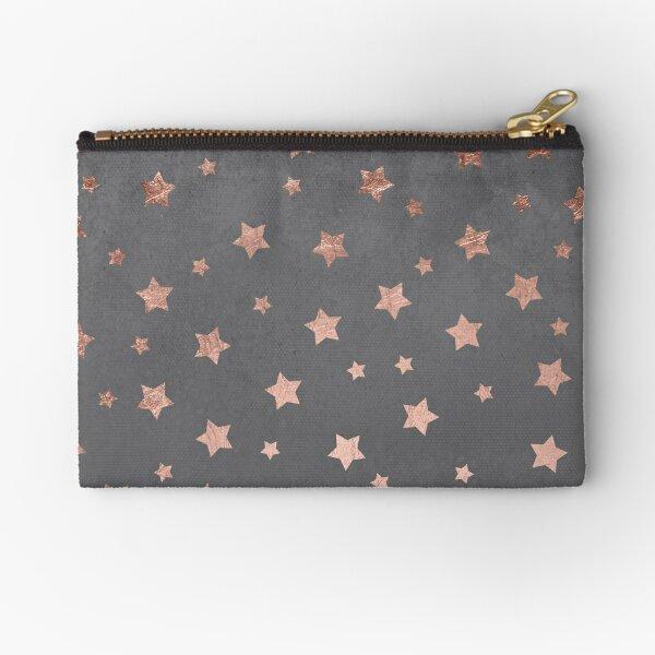 rose gold Christmas stars geometric pattern cement Zipper Pouch