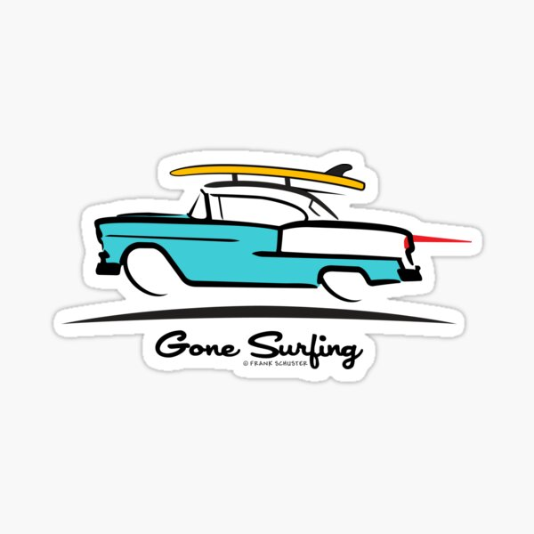 1955 Chevy Hardtop Coupe Gone Surfing Sticker