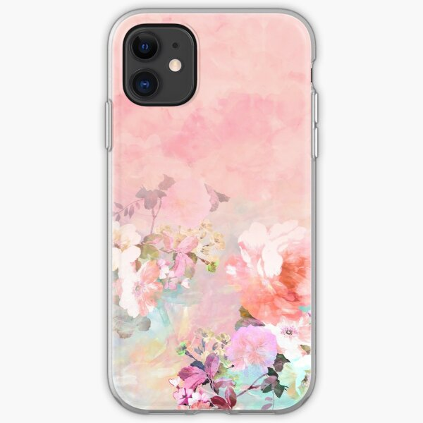Pastel blush watercolor ombre floral watercolor iPhone Soft Case