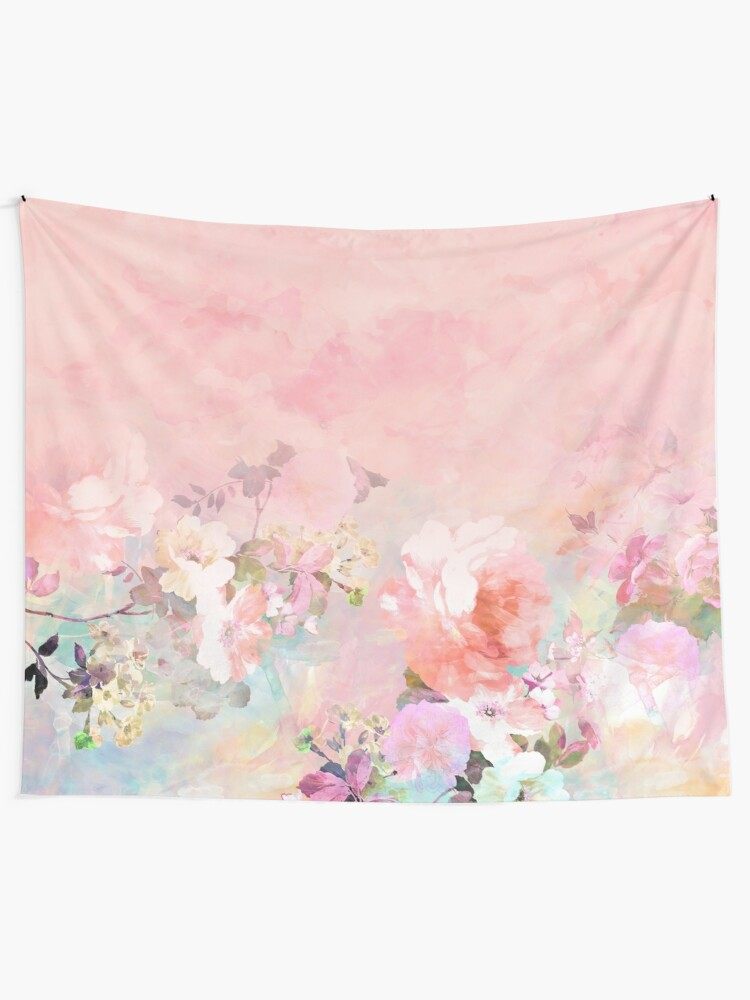 Alternate view of Pastel blush watercolor ombre floral watercolor Tapestry