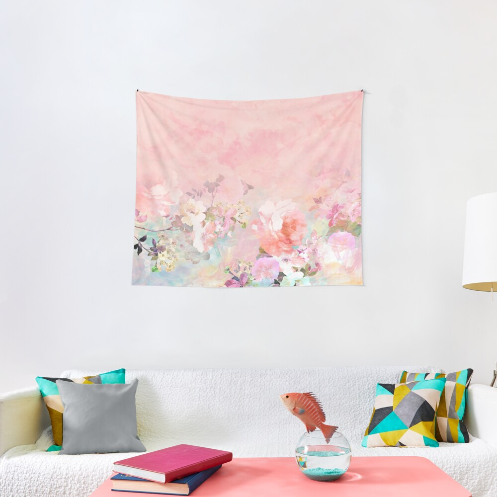 Pastel blush watercolor ombre floral watercolor Tapestry