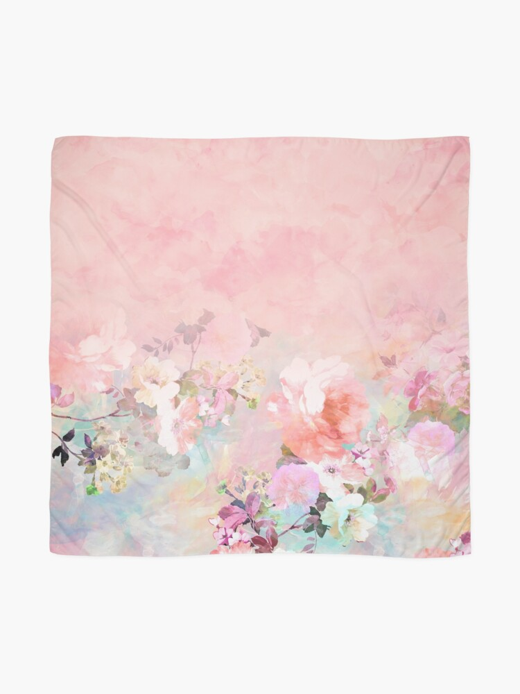 Alternate view of Pastel blush watercolor ombre floral watercolor Scarf