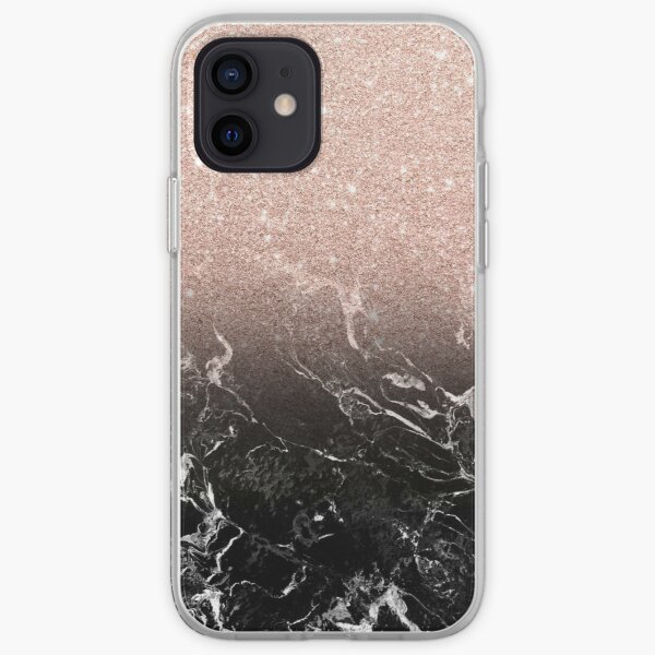 Modern rose gold ombre black marble color block  iPhone Soft Case