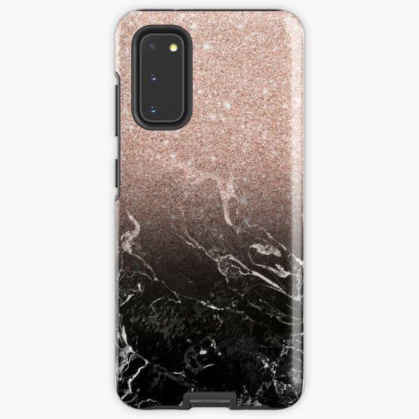 Modern rose gold ombre black marble color block  Samsung Galaxy Tough Case