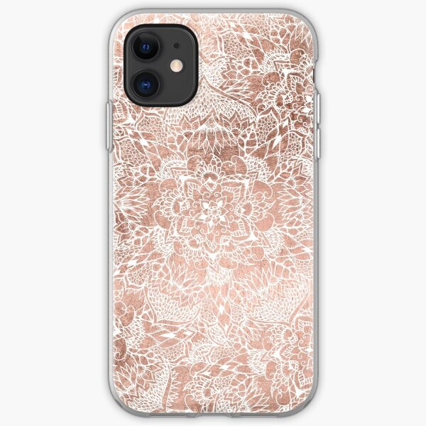 Modern faux rose gold floral mandala hand drawn iPhone Soft Case