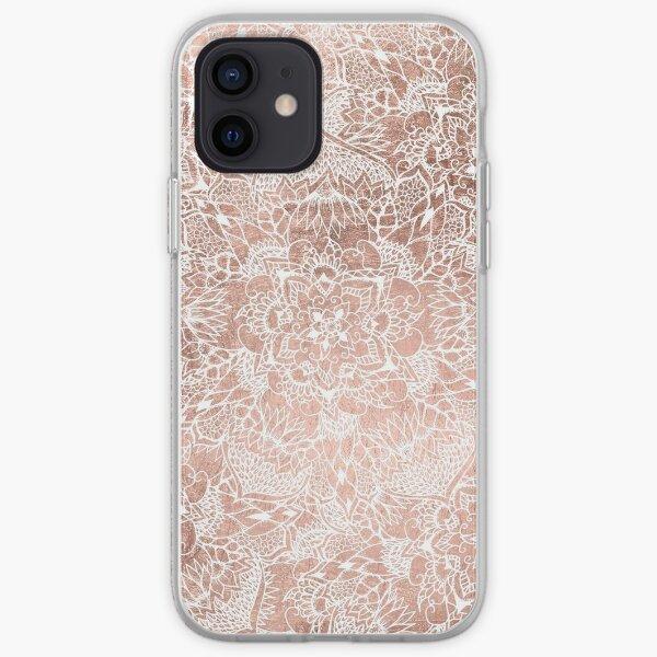 Mandala floral de imitación de oro rosa moderna dibujada a mano Funda blanda para iPhone