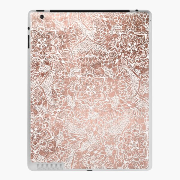 Modern faux rose gold floral mandala hand drawn iPad Skin