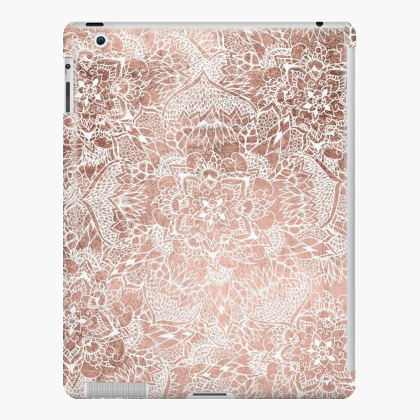 Modern faux rose gold floral mandala hand drawn iPad Snap Case