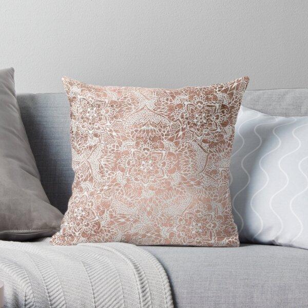 Modern faux rose gold floral mandala hand drawn Throw Pillow