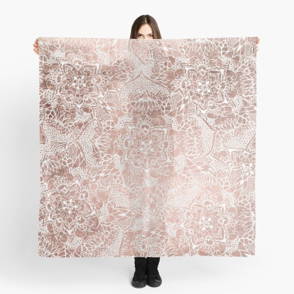 Modern faux rose gold floral mandala hand drawn Scarf