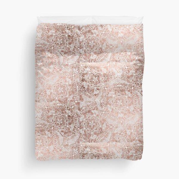Modern faux rose gold floral mandala hand drawn Duvet Cover
